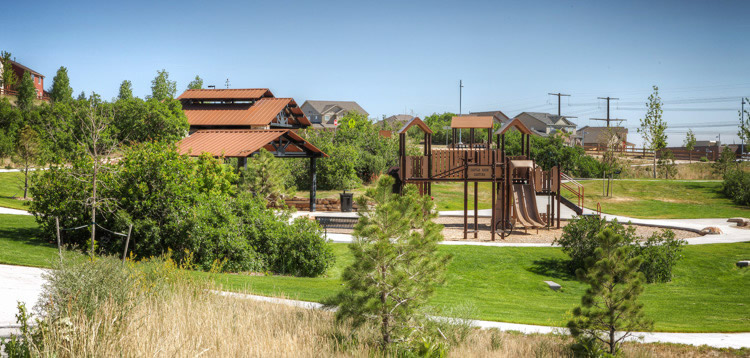 Playground, Tennis Court & Picnic Pavilions at Wrangler Park in Terrain